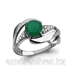 """Кольцо Aquamarine серебро с родием, агат зеленый фианит, """"halo"""" 6587209А.5"""