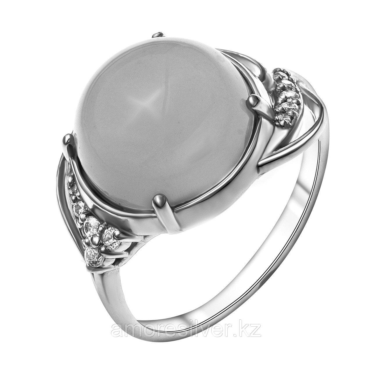 Кольцо Приволжский Ювелир серебро с родием, нефрит, круг 251088