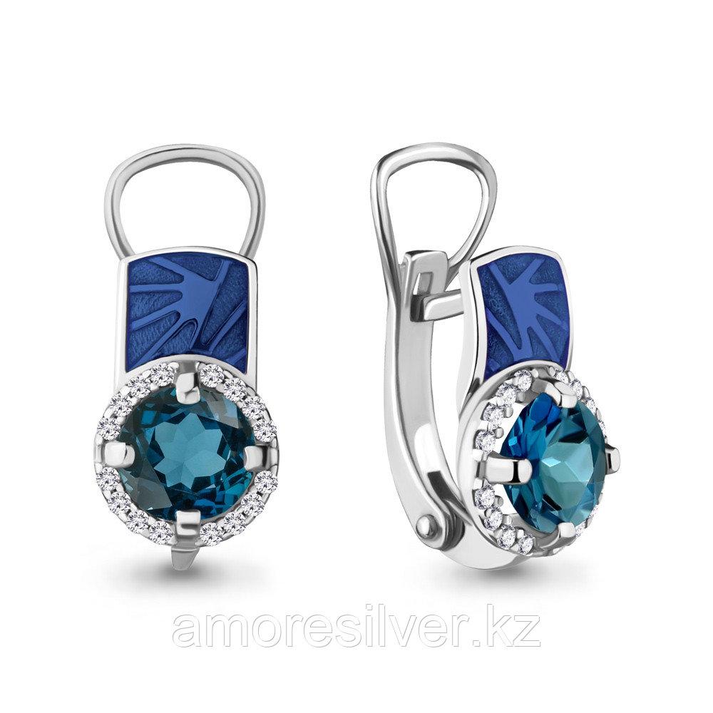 """Серьги Aquamarine серебро с родием, топаз лондон фианит, """"halo"""" 4464108А.5"""