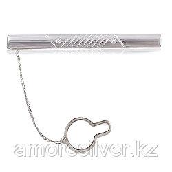 Зажим для галстука  серебро с родием, фианит 70109