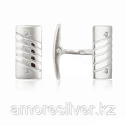 Запонки  серебро с родием, фианит, классика 80107