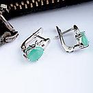 "Серьги Teosa серебро с родием, изумруд, ""каратник"" E-DRGR00795-EM, фото 3"