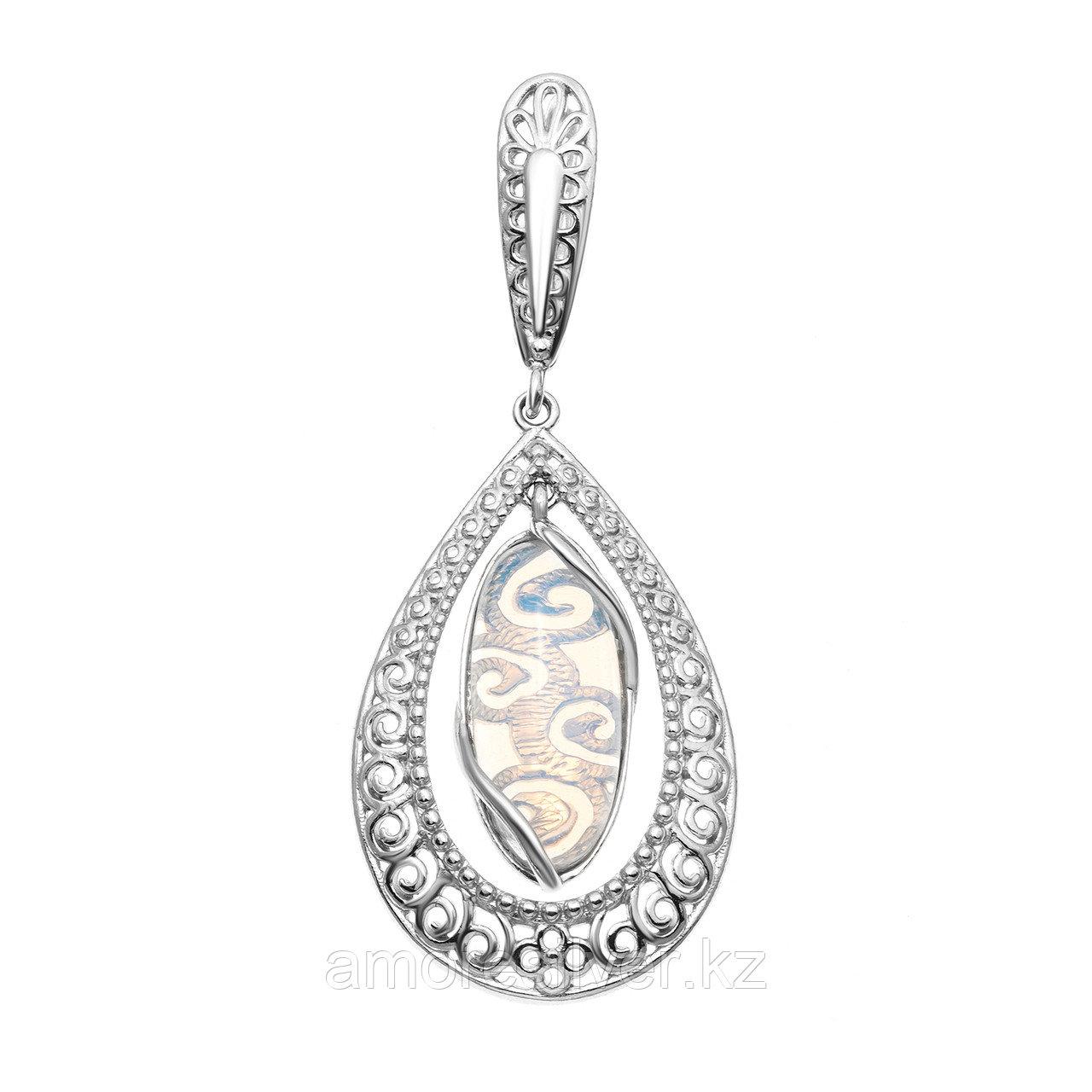 Серьги Приволжский Ювелир серебро с родием, лунный камень, капля 361448