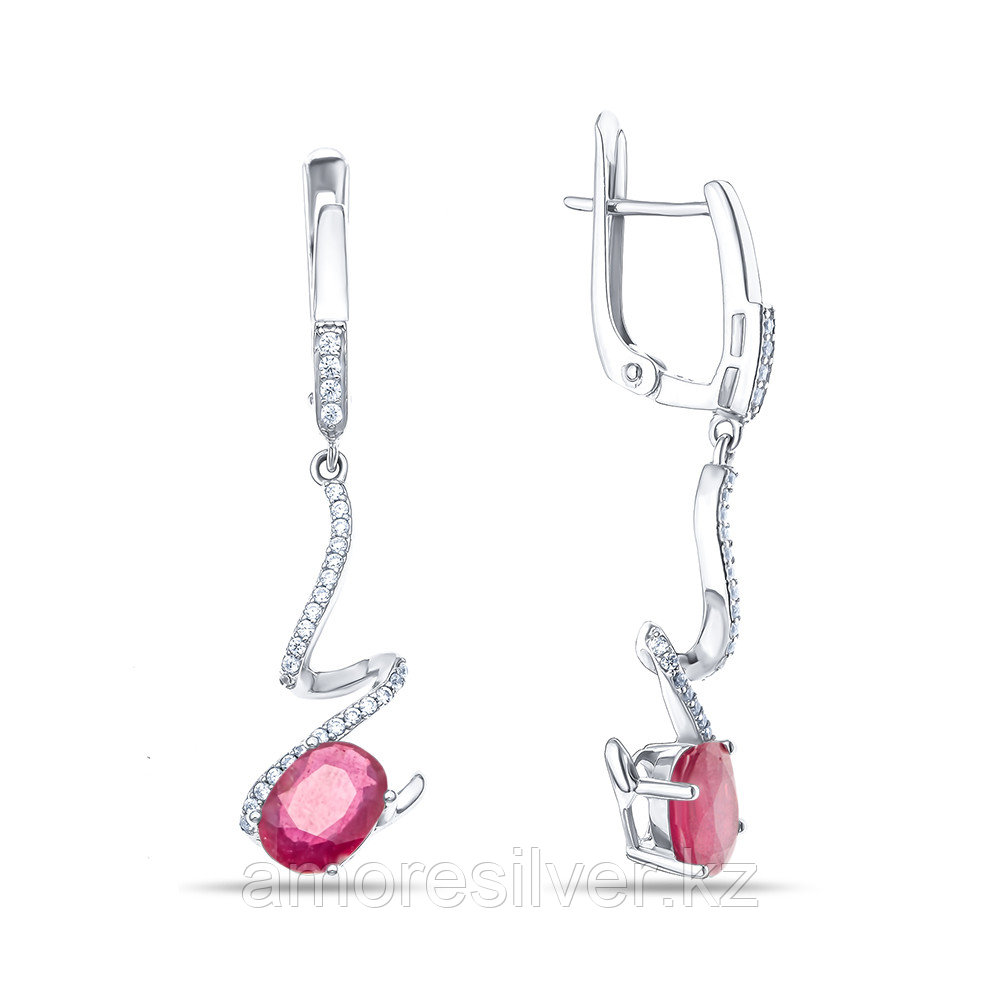 "Серьги Teosa серебро с родием, рубин фианит, ""halo"" E-DRGR00833-RB"