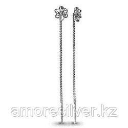 Серьги Aquamarine серебро с родием, без вставок, флора 30796.5