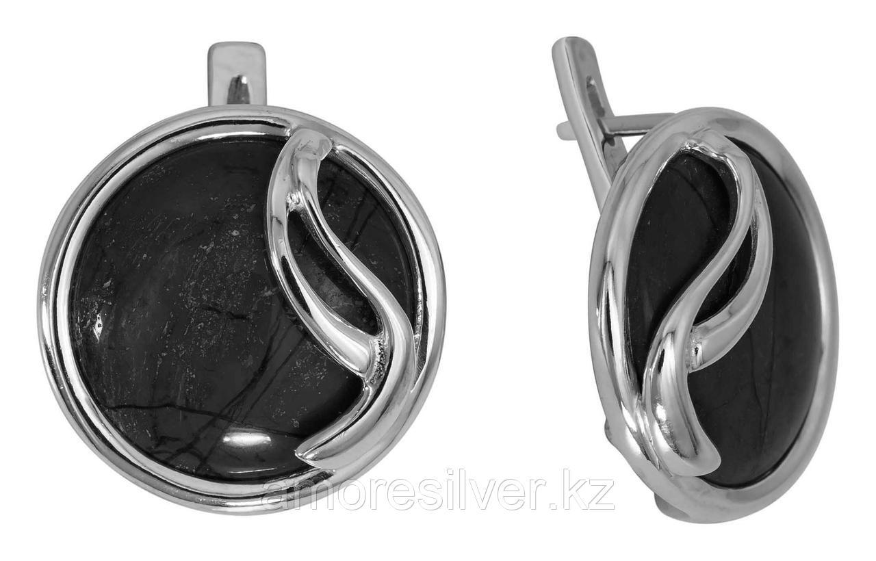 Серьги Невский серебро с родием, нефрит, с английским замком, круг 43450Р