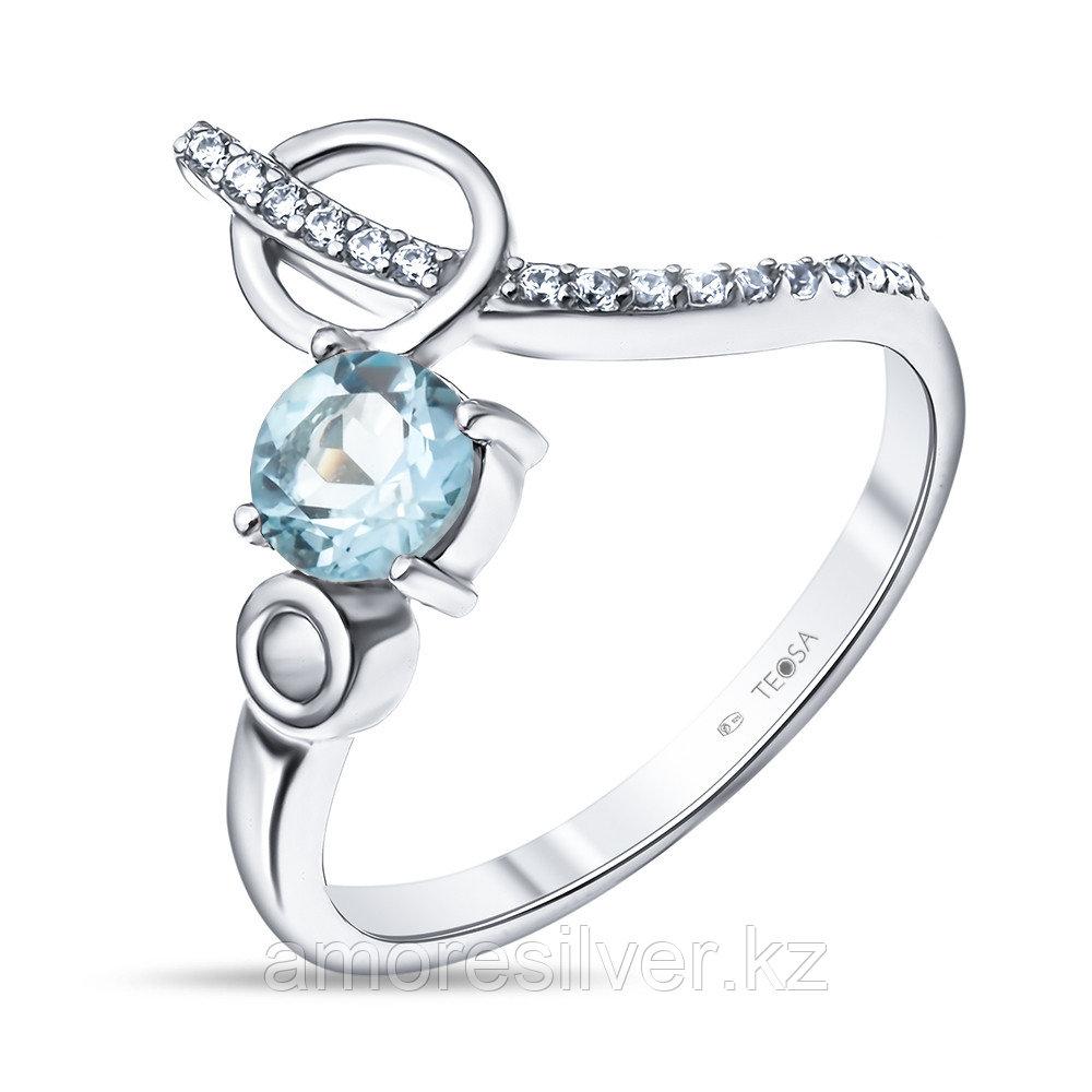 """Кольцо Teosa серебро с родием, топаз фианит, """"halo"""" R-DRGR00826-T"""