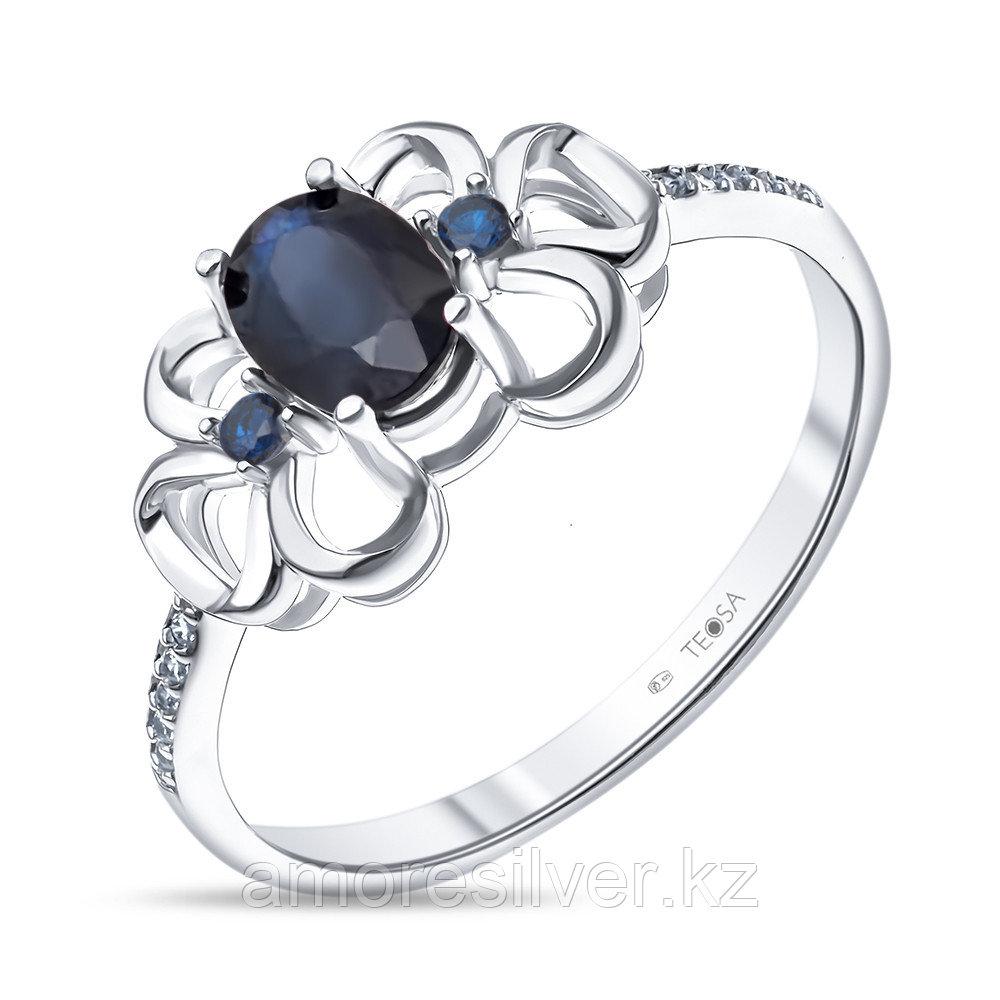 """Кольцо Teosa серебро с родием, сапфир фианит, """"halo"""" R-DRGR00804-SP"""
