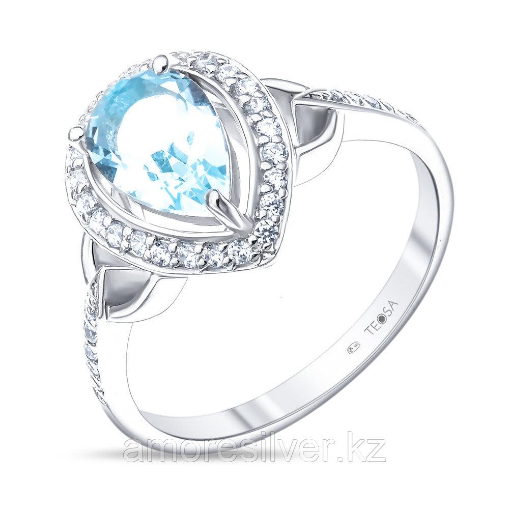 """Кольцо Teosa серебро с родием, топаз фианит, """"halo"""" R-DRGR00785-T"""