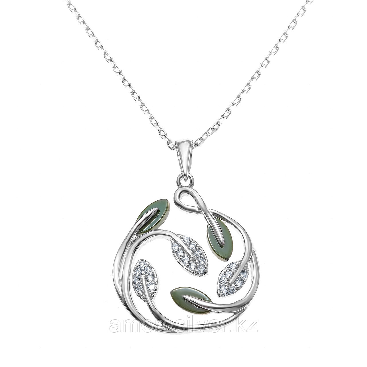 Колье Teosa серебро с родием, керамика фианит, флора ZCN-2252-O