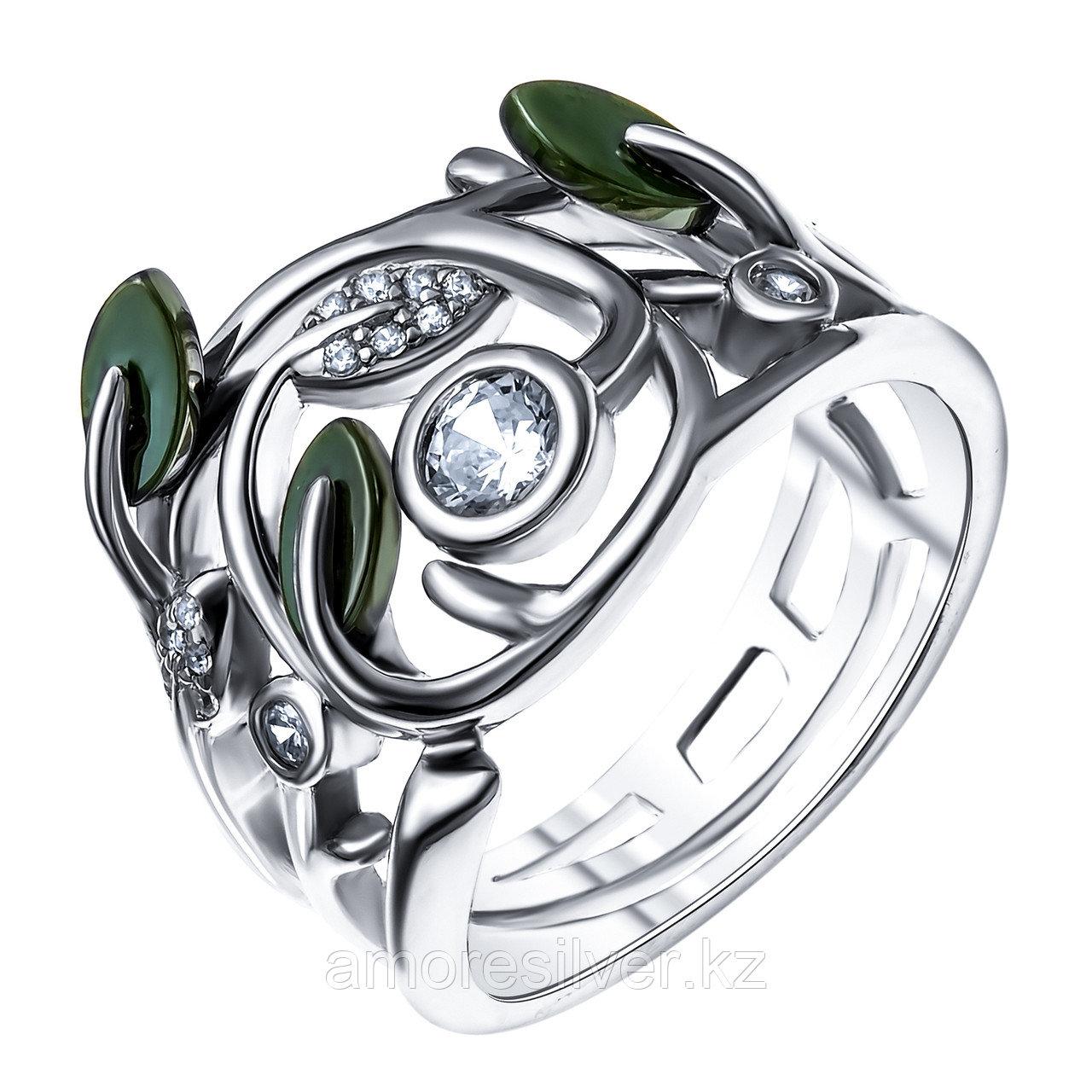 Кольцо Teosa серебро с родием, керамика фианит, флора ZCR-2255-O