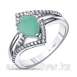 """Кольцо Teosa серебро с родием, изумруд фианит, """"halo"""" R-DRGR00838-EM"""