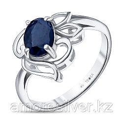 """Кольцо Teosa серебро с родием, сапфир сапфир нат. (u), """"каратник"""" R-DRGR00798-SP размеры - 16 18"""