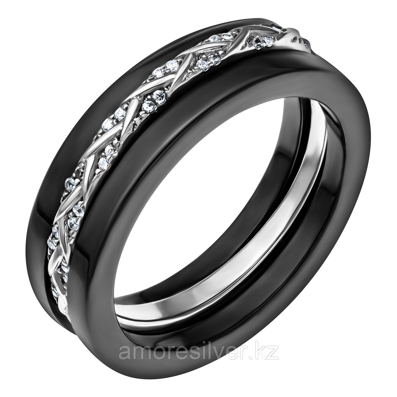 "Кольцо Teosa серебро с родием, керамика фианит, ""линии"" CS-419S-B"