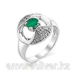 """Кольцо Алькор серебро с родием, агат зеленый фианит, """"halo"""" 01-0770/00АГ-00 размеры - 19"""