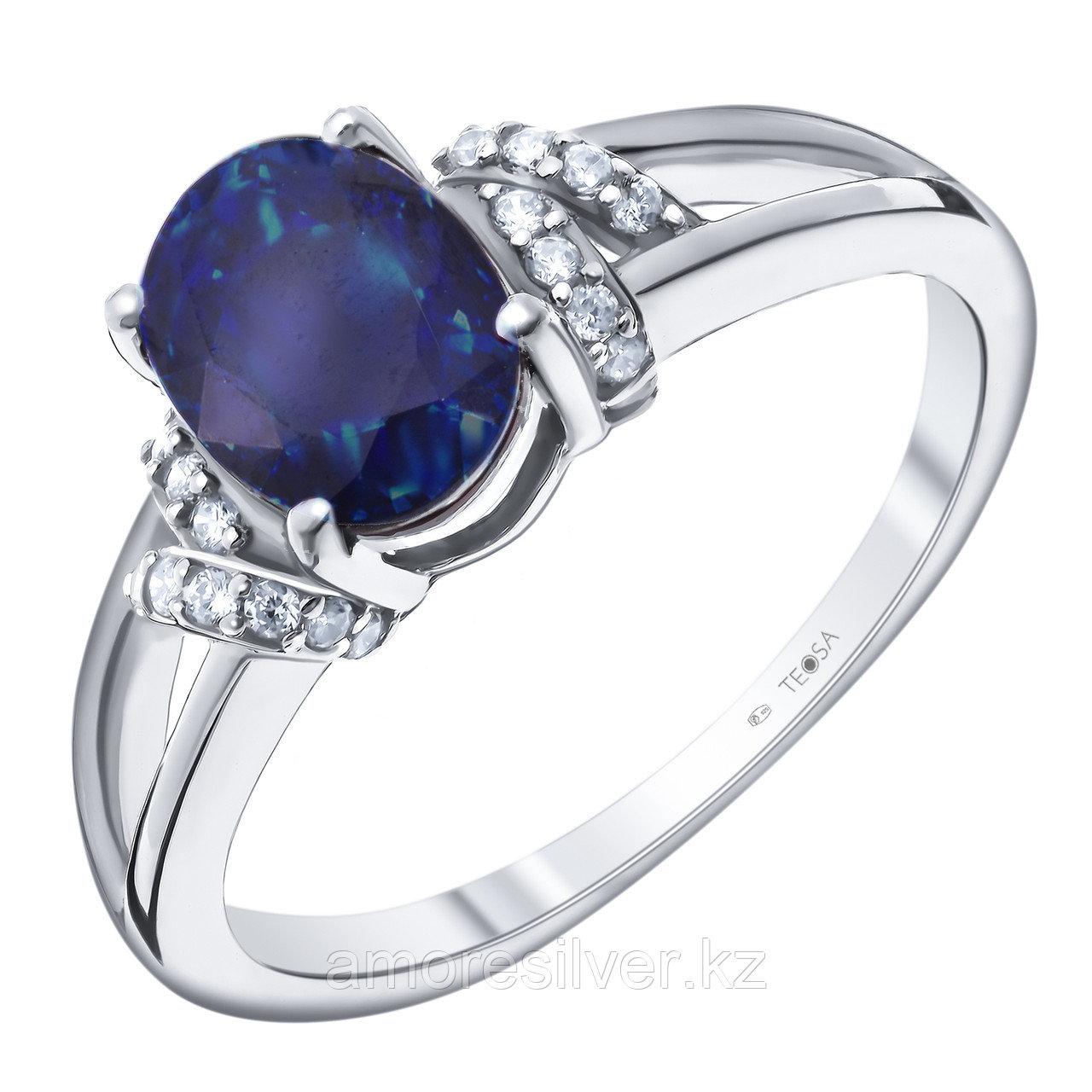"""Кольцо Teosa серебро с родием, сапфир фианит, """"halo"""" R-DRGR00751-SP"""