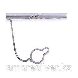 Зажим для галстука  серебро с родием, без вставок, классика 70001