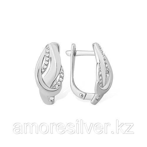 Серьги  серебро с родием, фианит, геометрия 1210015392