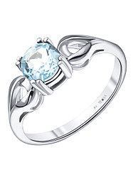"""Кольцо Teosa серебро с родием, топаз, , """"каратник"""" R-DRGR00820-T размеры - 17"""