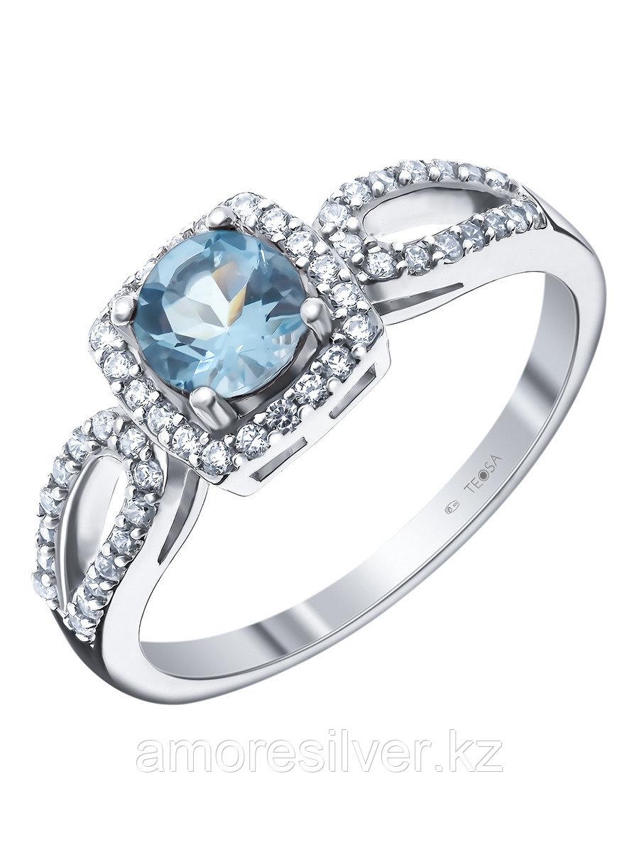 """Кольцо Teosa серебро с родием, топаз фианит, """"halo"""" R-DRGR00741-T"""
