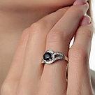 """Кольцо Teosa серебро с родием, сапфир фианит, """"halo"""" R-DRGR00743-SP, фото 2"""