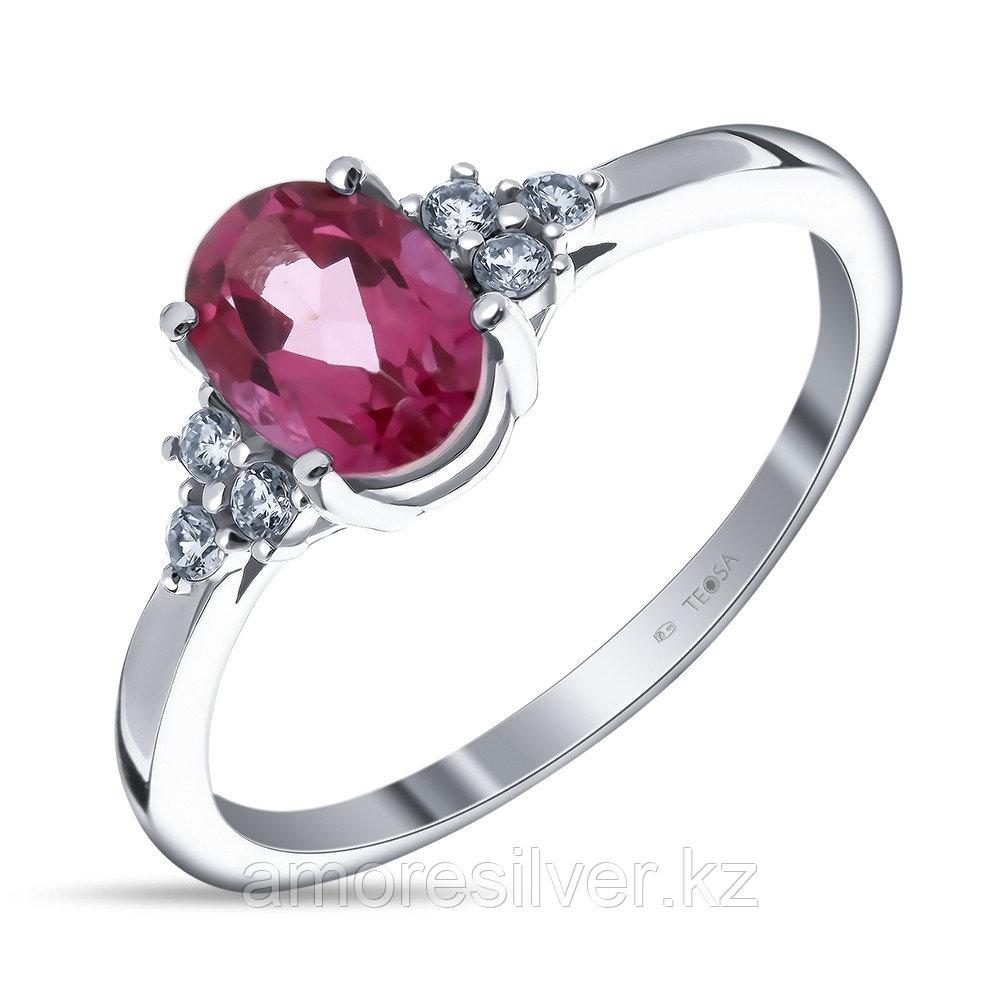"Кольцо Teosa серебро с родием, фианит топаз розовый, ""halo"" R-DRGR00688-TP"