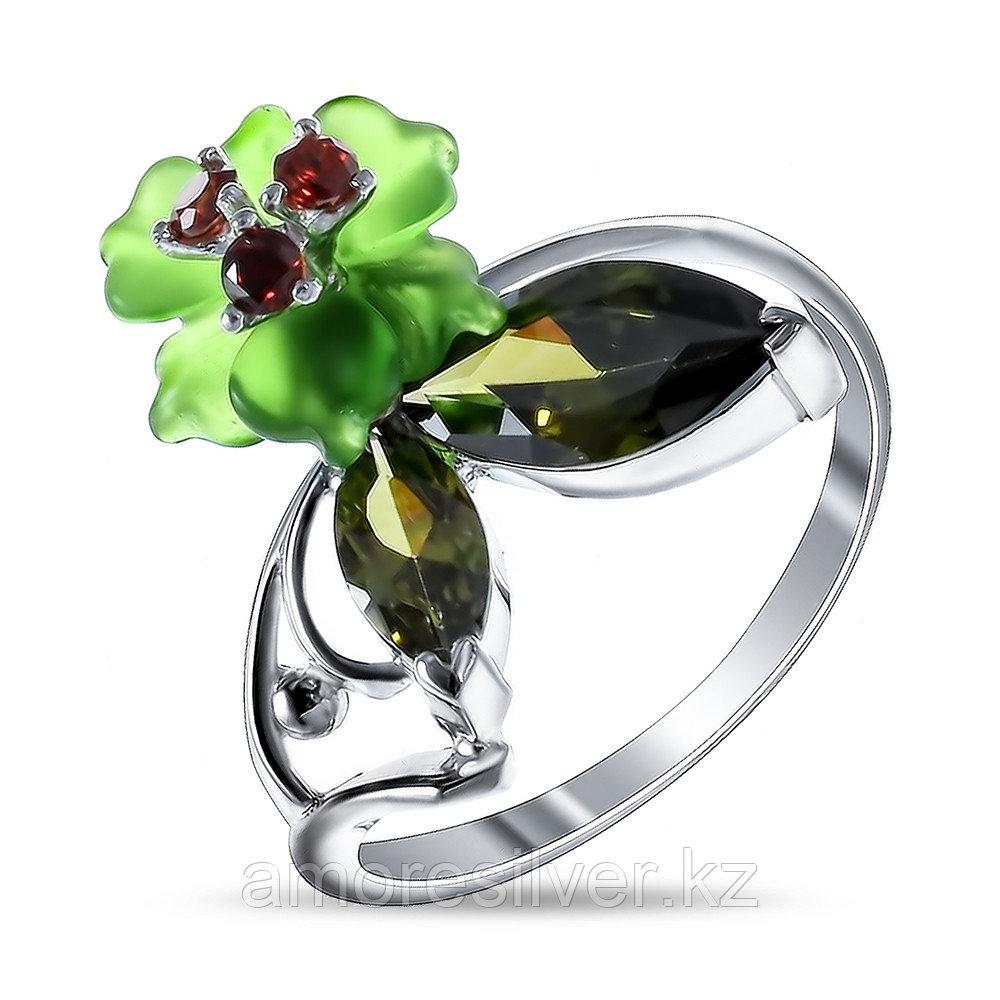 Кольцо Яхонт Ювелир серебро с родием, кварц фианит, флора 1171зк
