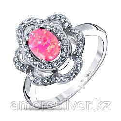 Кольцо Teosa серебро с родием, фианит опал пурпурный синт., флора F-OCC00047R-OPPR размеры - 17,5