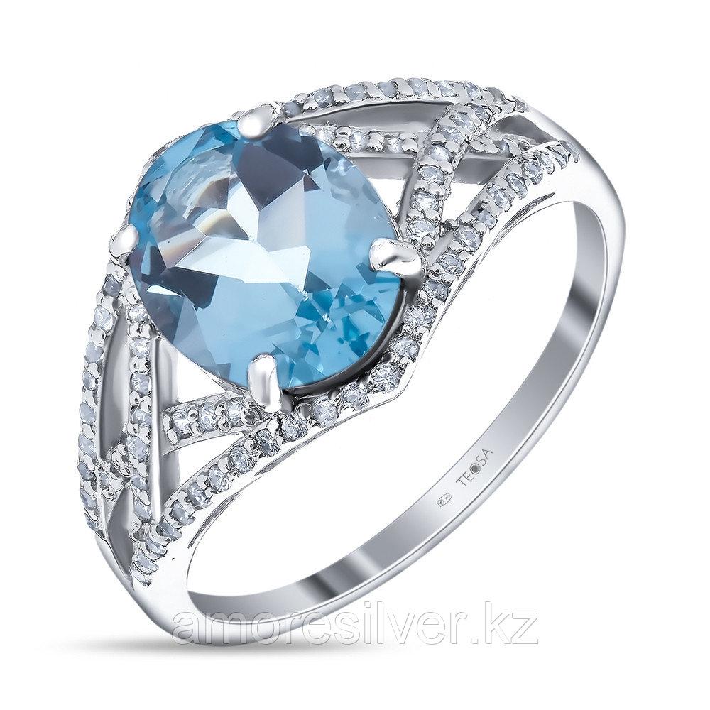 "Кольцо Teosa серебро с родием, топаз фианит, ""halo"" 0976-R-T"