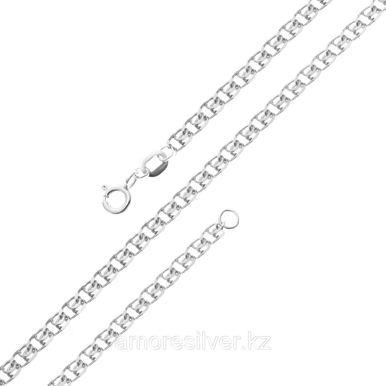 Цепь Красцветмет серебро с родием, без вставок, лав НЦ 22-087-3-035 размеры - 40 45 50 55 60