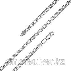 Цепь  серебро с родием, без вставок, ромб тройной 81050370145 размеры - 45