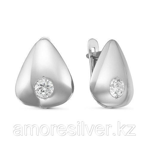 Серьги Delta серебро с родием, фианит, треугольник с126473