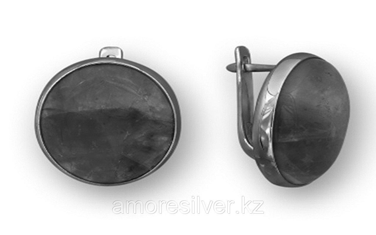 Серьги  серебро с позолотой, кварц розовый, с английским замком, круг 221382з