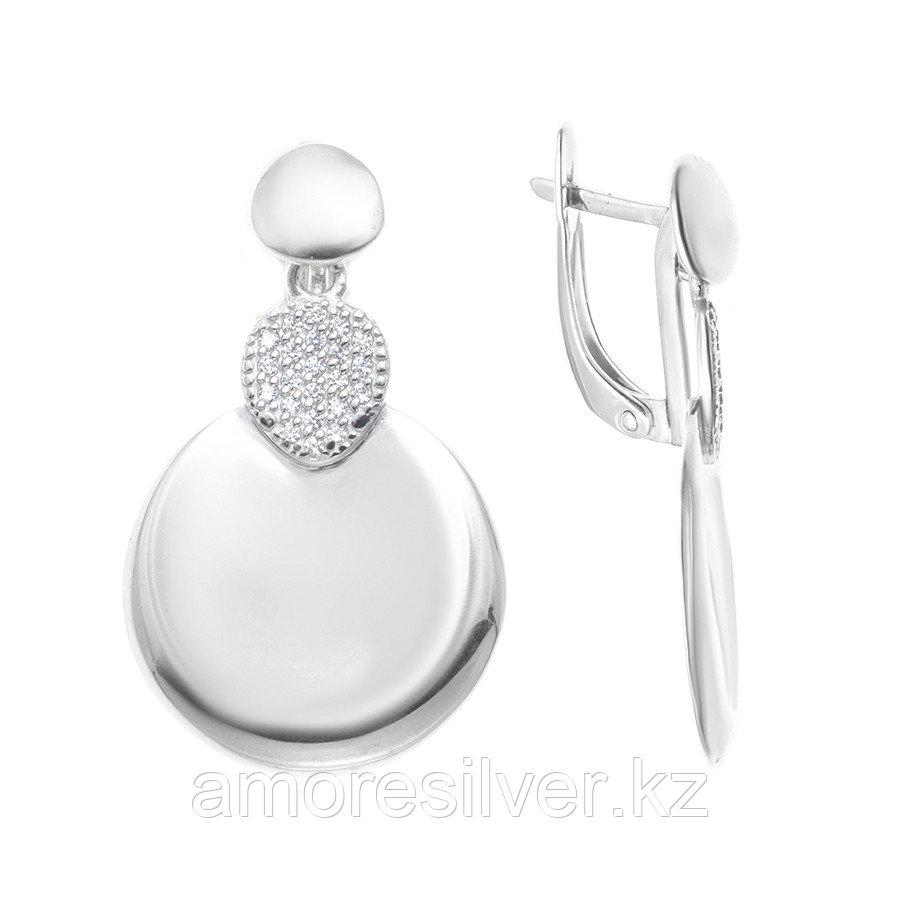 Серьги Дельта серебро с родием, фианит, круг с126443