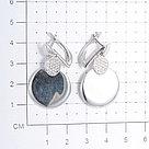 Серьги Дельта серебро с родием, фианит, круг с126443, фото 3