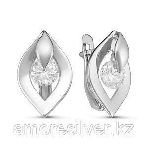 Серьги Дельта серебро с родием, фианит, круг с127106