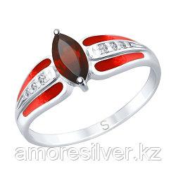"""Кольцо SOKOLOV серебро с родием, гранат эмаль фианит , """"halo"""" 92011745 размеры - 18,5"""