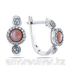 Серьги Teosa серебро с родием, перламутр розовый фианит, круг F-OCC00270E-MOPP