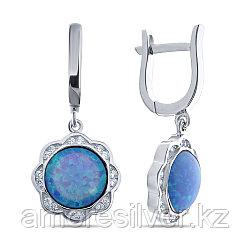 Серьги Teosa серебро с родием, фианит опал голубой синт., с английским замком, круг F-OTQ000612E-OPB