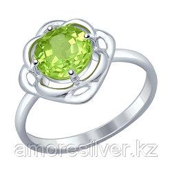 Кольцо SOKOLOV серебро с родием, хризолит, цветы 92011247