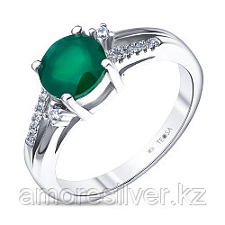 "Кольцо Teosa серебро с родием, агат зеленый, ""halo"" R-DRGR00767-AG"