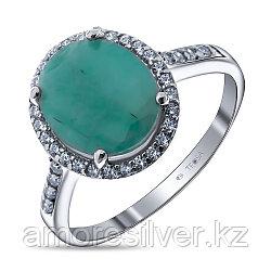 """Кольцо Teosa серебро с родием, изумруд фианит, """"halo"""" R-DRGR00488-EM"""