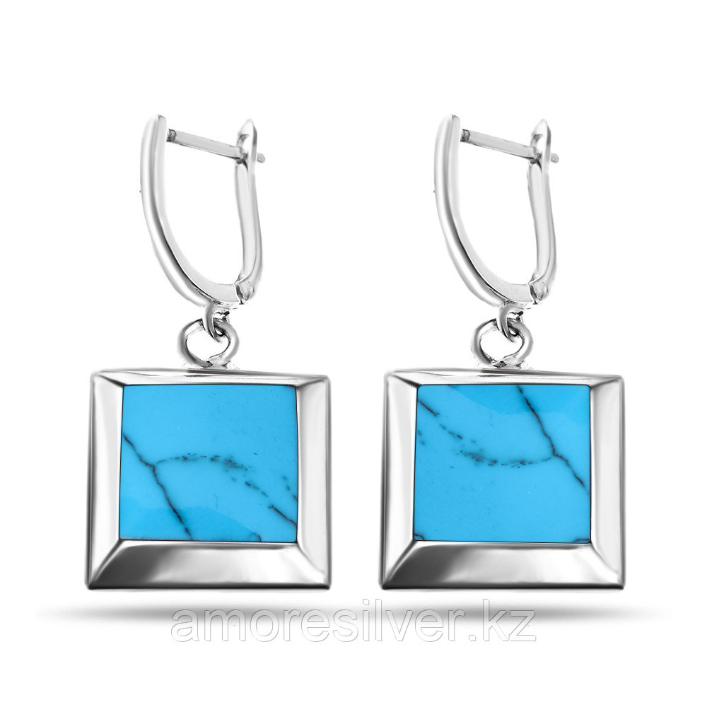 Серьги Teosa серебро без покрытия, бирюза перламутр, квадрат JE20338-TQ