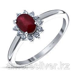 """Кольцо Teosa серебро с родием, рубин фианит, """"halo"""" R-DRGR00682-RB"""