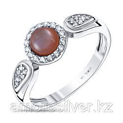 Кольцо Teosa серебро с родием, перламутр розовый фианит, круг F-OCC00270R-MOPP размеры - 16,5