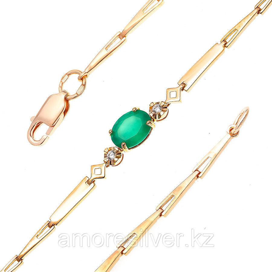 Серебряный браслет с агатом зеленым и фианитом  Teosa 500-097-AG-z