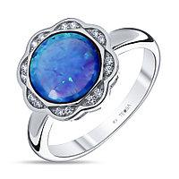 Кольцо Teosa серебро с родием, фианит опал голубой синт., круг F-OTQ000612R-OPB размеры - 17,5