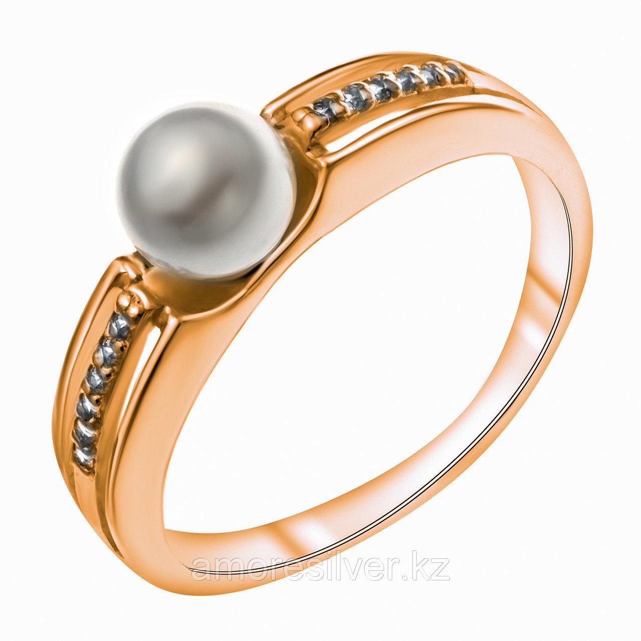 Серебряное кольцо с жемчугом имитированным и фианитом    Красная Пресня 23610141Д размеры - 18