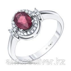 """Кольцо Teosa серебро с родием, рубин фианит, """"halo"""" R-DRGR00768-RB"""