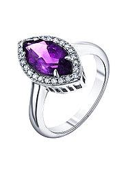 "Кольцо Teosa серебро с родием, аметист фианит, , ""halo"" R-DRGR00508-AM размеры - 17"